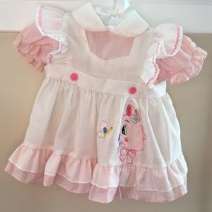 Other -  Vintage Pinafore Pink & White Cat Dress
